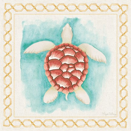 Framed Coastal Mist Sea Turtle Border Turquoise Print
