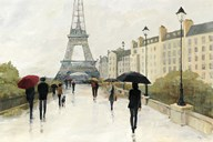 Eiffel in the Rain Marsala Umbrella  Fine Art Print