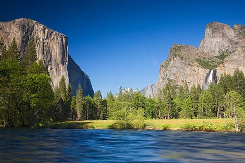 Framed Valley view with El Capitan, Cathedral Rocks, Bridalveil Falls, and Merced River Yosemite NP, CA Print