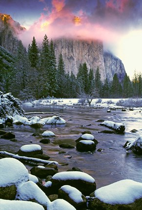 Framed Winter snow, Merced River Print