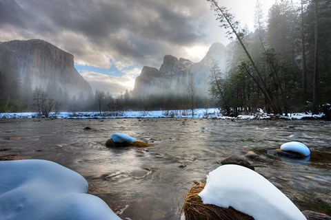 Framed Merced River, El Capitan in background, Yosemite, California Print
