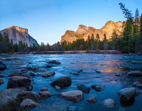 Framed Rocks in The Merced River in the Yosemite Valley Print