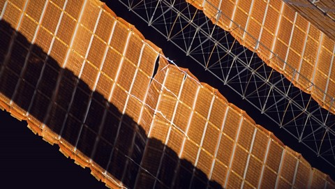 Framed Close-up View of the Repaired Solar Array on the International Space Station Print