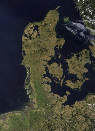 Framed Satellite View of Denmark Print