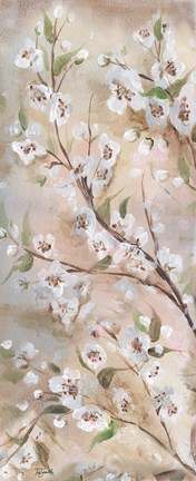Framed Cherry Blossoms Taupe Panel II Print