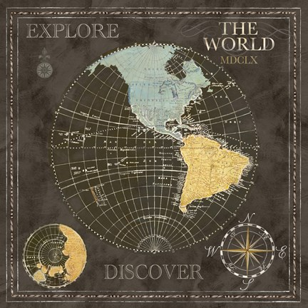 Framed Old World Journey Map Black I Print