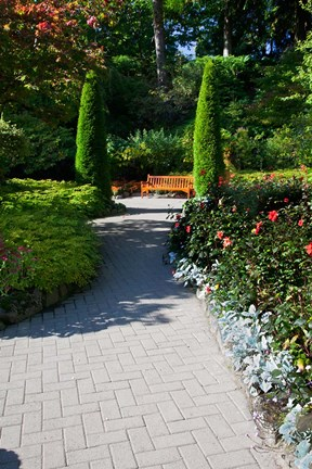 Framed Trail Through the Butchard Gardens, Victoria, British Columbia, Canada Print