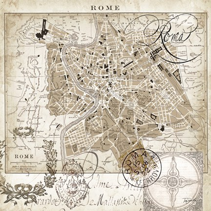 Framed Euro Map II - Rome Print