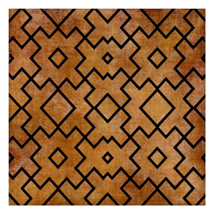 Framed Black on Brown Pattern Print