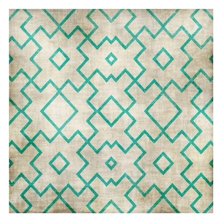 Framed Teal on Tan Pattern Print