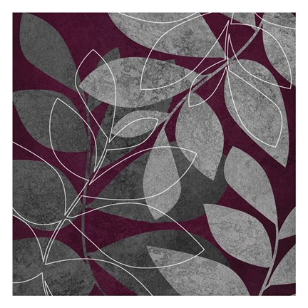 Framed Grey Purple Leaves 2 Print