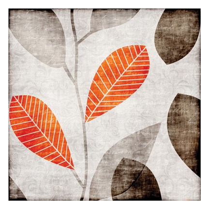 Framed Gray Orange Leaves 2 Print
