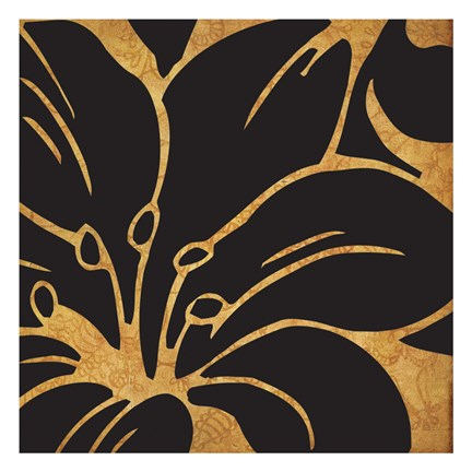 Framed Black and Gold Flora 3 Print