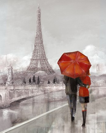 Modern Couple In Paris Fine Art Print By Ruane Manning At
