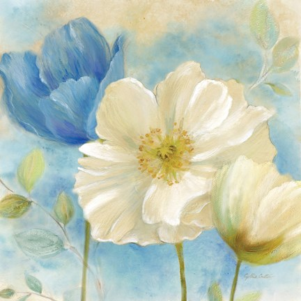Framed Watercolor Poppies II (Blue/White) Print