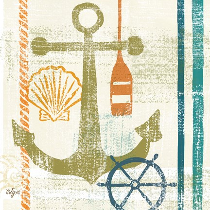 Framed Nautical Brights I Print