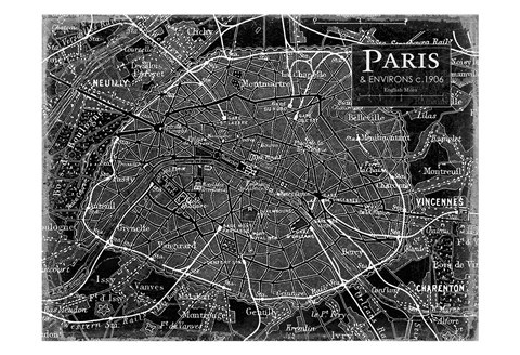 Framed Environs Paris Black 2 Print