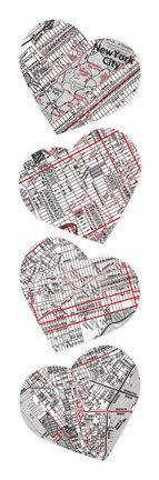 Framed Map To Your Heart Manhattan 5 Print