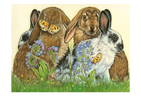 Framed Bunnies and Butterflies Print