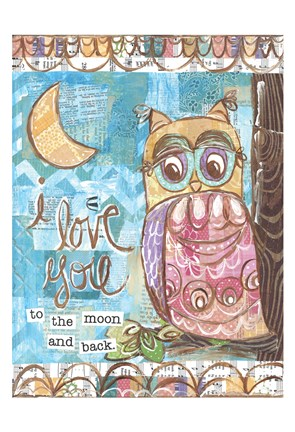 Framed Pastel Owl Family 2 To the Moon and Back Print