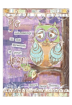 Framed Pastel Owl Family 4 Go Confidently Print