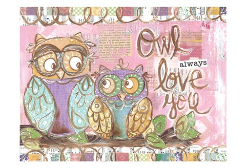 Framed Pastel Owl Family 5 Owl Always Love You Print