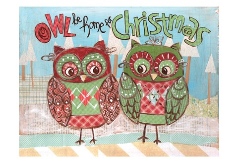 Framed Christmas Owls 2C Print