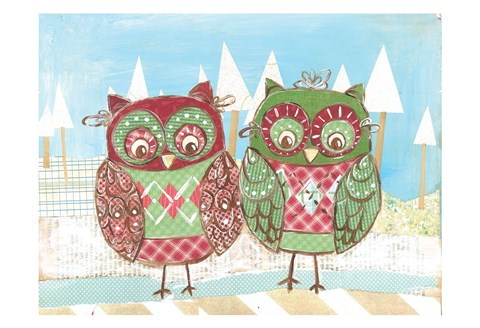 Framed Christmas Owls 2B Print
