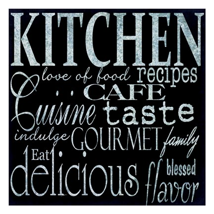 Framed Simple Speak Kitchen A Print