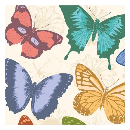 Framed Colorful Butterflies Print