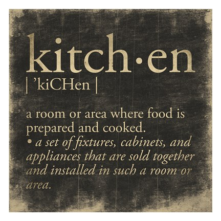 Framed Kitchen Definition Print