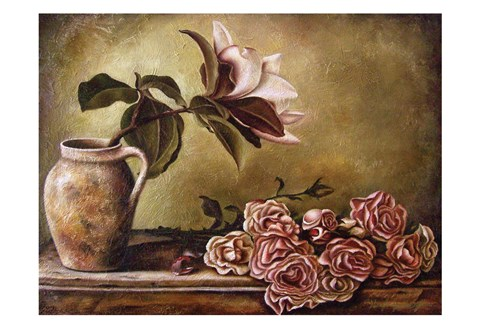 Framed Magnolia with Roses II Print