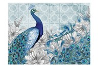 Monochrome Peacocks Blue 4  Fine Art Print