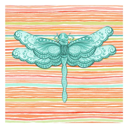 Framed Summer Stripe dragonfly 1 Print