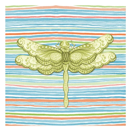 Framed Summer Stripe dragonfly 3 Print