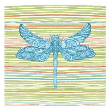 Framed Summer Stripe dragonfly 4 Print