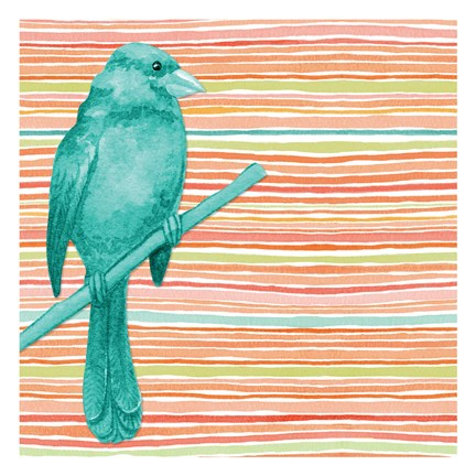 Framed Summer Stripe Bird 1 Print