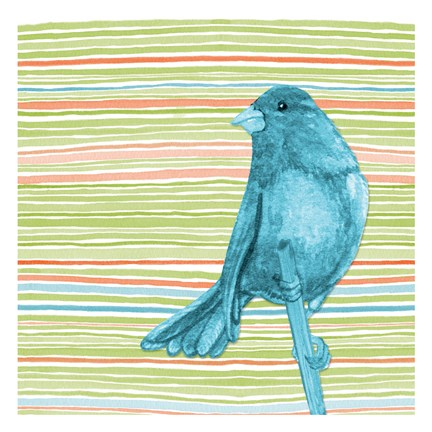 Framed Summer Stripe Bird 4 Print