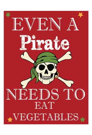 Framed Pirate Must Eat Print