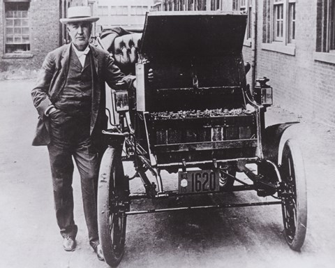 Framed Thomas Edison with his first electric car, the Edison Baker Print