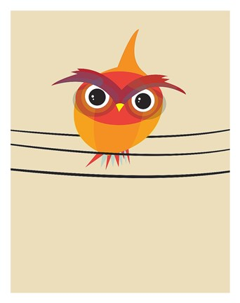 Framed Owl on a Wire Print