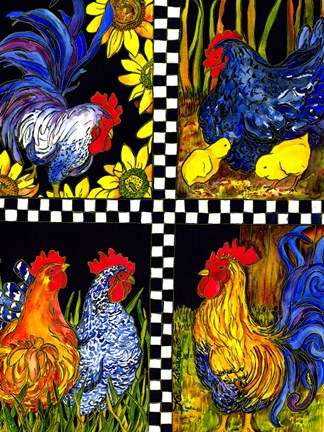 Framed Chicken Quartet Print