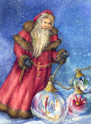 Framed Old Santa with Gifts Print