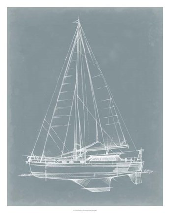 Framed Yacht Sketches I Print