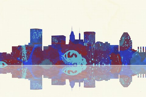 Framed Baltimore Maryland Skyline 1 Print