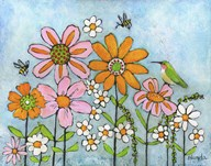 Hummingbird And Bees  Fine Art Print