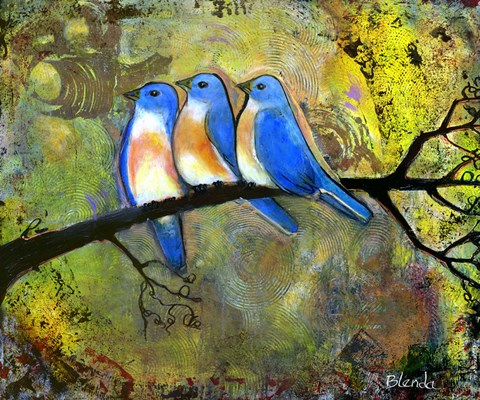 Framed Three Little Bluebirds Print