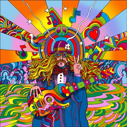 Hippie Musician Fine Art Print By Howie Green At