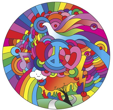 Framed Peace Love Music Circle Print