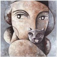 Cat and Woman  Fine Art Print